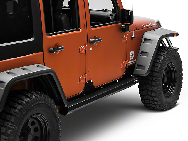Rock-Slide Engineering Step Sliders w/ Body Armor - Textured Black (07-18 Wrangler JK 4 Door)
