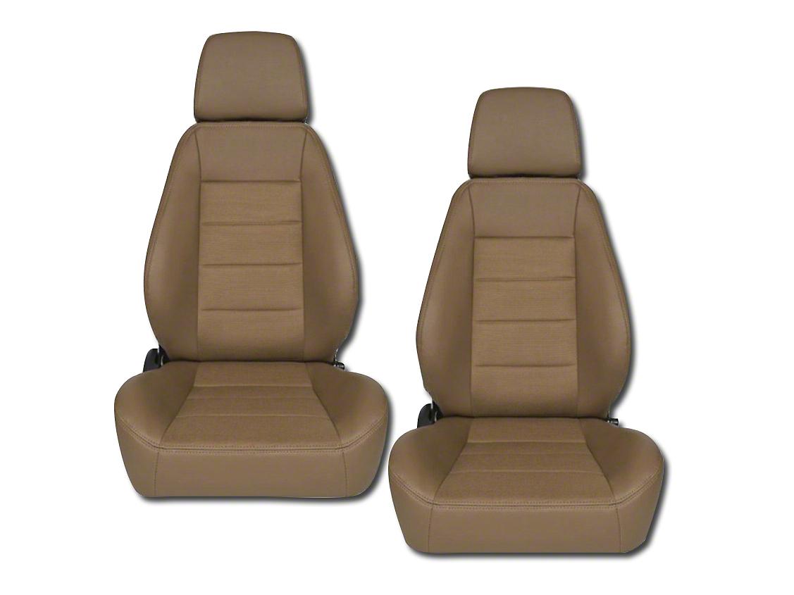 Corbeau Sport Seat Reclining Seat - Tan Vinyl/Cloth - Pair (87-18 Jeep Wrangler YJ, TJ, JK & JL)