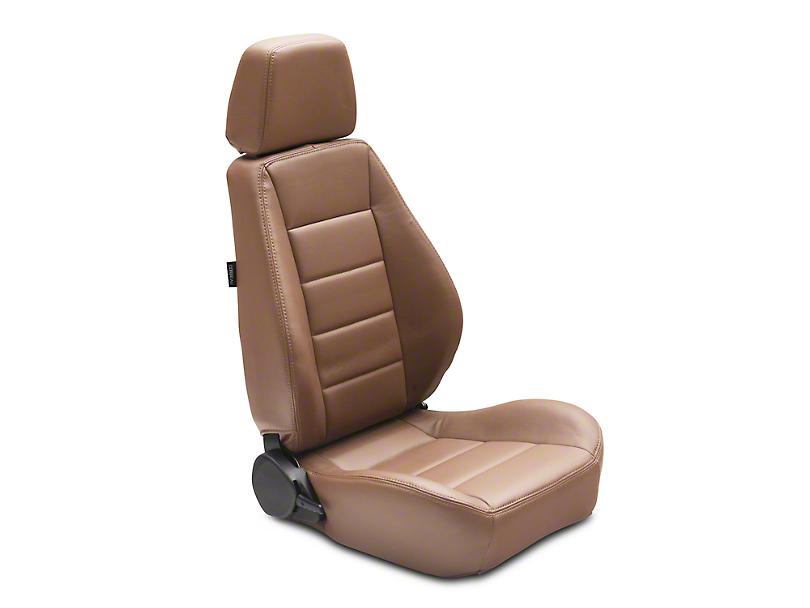 Corbeau Sport Seat Reclining Seat - Tan Vinyl - Pair (87-18 Jeep Wrangler YJ, TJ & JK; Seat Brackets are Required for TJ & JK Models)