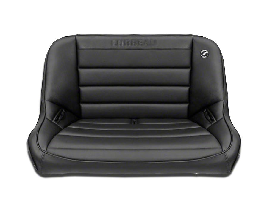 Corbeau 40 in. Baja Bench Suspension Seat - Black Vinyl (97-06 Jeep Wrangler TJ)