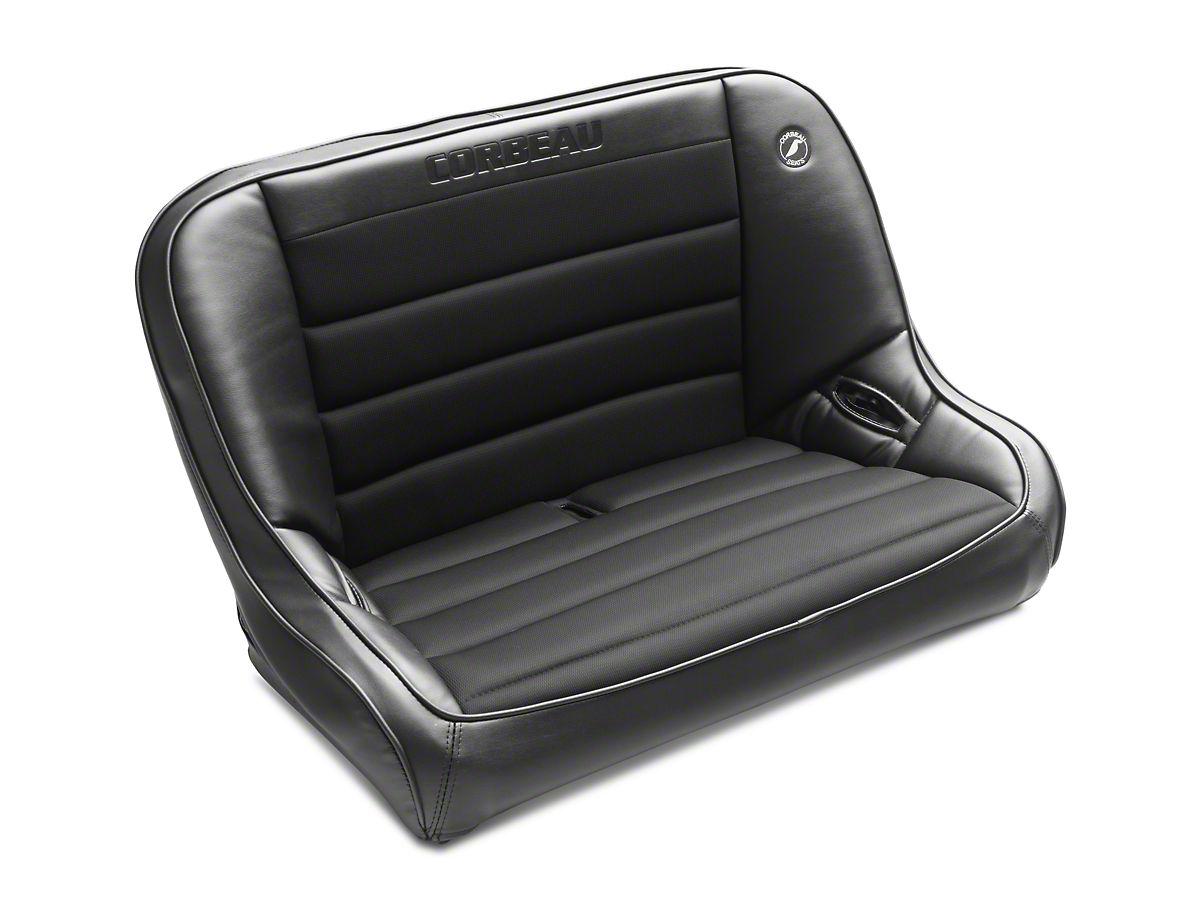 Corbeau 40 in  Baja Bench Suspension Seat - Black Vinyl/Cloth (97-06 Jeep  Wrangler TJ)