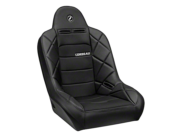Corbeau Baja JP Suspension Seat - Black Vinyl/Cloth (87-19 Jeep Wrangler YJ, TJ, JK & JL)
