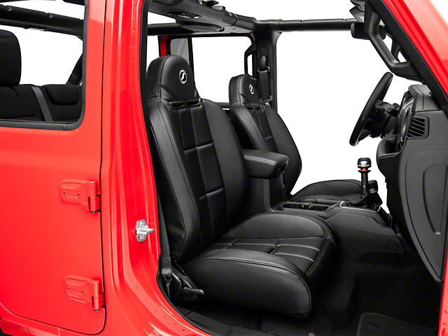 Corbeau Baja RS Suspension Seats; Black Vinyl; Pair (66-21 Jeep CJ5, CJ7, Wrangler YJ, TJ, JK & JL)