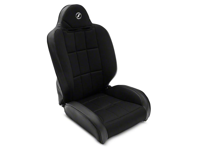 Corbeau Baja RS Suspension Seats - Black Vinyl/Cloth - Pair (87-18 Jeep Wrangler YJ, TJ & JK; Seat Brackets are Required for TJ & JK Models)