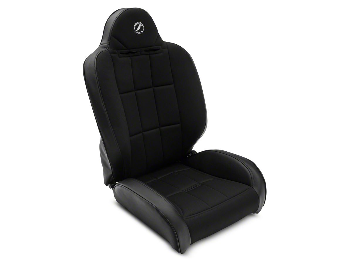 Corbeau Baja RS Suspension Seats - Black Vinyl/Cloth - Pair (87-18 Jeep  Wrangler YJ, TJ & JK