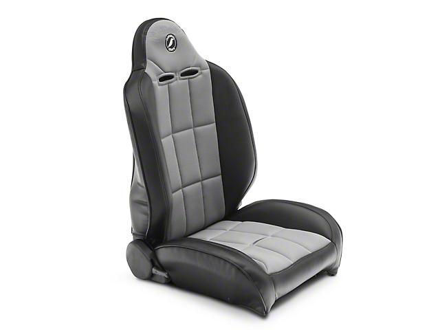 Corbeau Baja RS Suspension Seats - Black Vinyl/Gray Cloth - Pair (87-18 Jeep Wrangler YJ, TJ & JK; Seat Brackets are Required for TJ & JK Models)