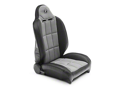 Corbeau Baja RS Suspension Seat - Black Vinyl/Gray Cloth - Pair (87-18 Wrangler YJ, TJ & JK; Seat Brackets are Required for TJ & JK Models)