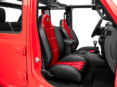 Corbeau Baja RS Suspension Seat - Black Vinyl/Red Cloth - Pair (87-18 Jeep Wrangler YJ, TJ & JK; Seat Brackets are Required for TJ & JK Models)