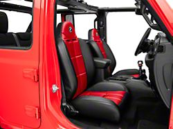 Corbeau Baja RS Suspension Seats; Black Vinyl/Red Cloth; Pair (87-18 Jeep Wrangler YJ, TJ & JK; Seat Brackets are Required for TJ & JK Models)