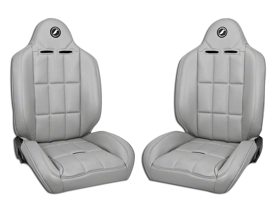 Corbeau Baja RS Suspension Seat - Gray Vinyl - Pair (87-18 Wrangler YJ, TJ, JK & JL)