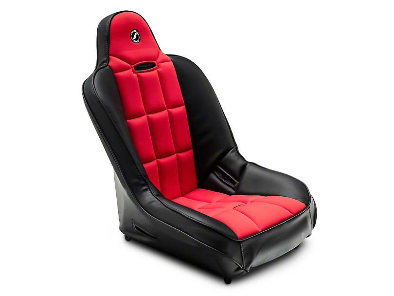 Corbeau Baja SS Suspension Seat - Black Vinyl/Red Cloth (87-19 Jeep Wrangler YJ, TJ, JK & JL)