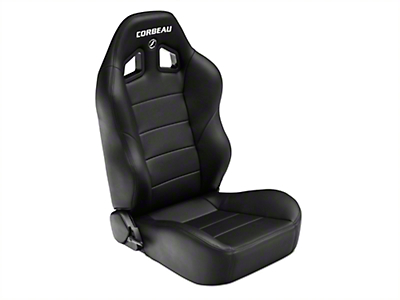 Corbeau Baja XRS Suspension Seat - Black Vinyl - Pair (87-18 Jeep Wrangler YJ, TJ & JK; Seat Brackets are Required for TJ & JK Models)