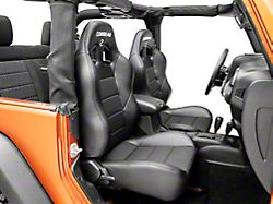 Corbeau Baja XRS Suspension Seats - Black Vinyl/Cloth - Pair (87-18 Jeep Wrangler YJ, TJ & JK; Seat Brackets are Required for TJ & JK Models)