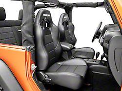 Corbeau Baja XRS Suspension Seats; Black Vinyl/Cloth; Pair (87-18 Jeep Wrangler YJ, TJ & JK; Seat Brackets are Required for TJ & JK Models)