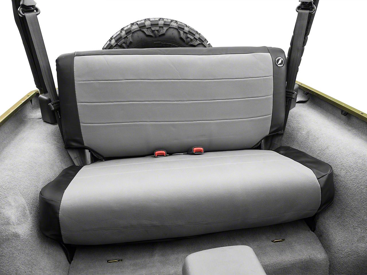 Corbeau Rear Seat Cover - Black Vinyl/Gray Cloth (97-06 Jeep Wrangler TJ)