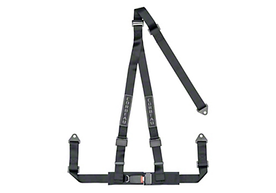Corbeau 2 in. 3-Point Bolt-In Harness Belt - Black (87-18 Jeep Wrangler YJ, TJ, JK & JL)