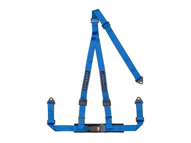Corbeau 2 in. 3-Point Bolt-In Harness Belt - Blue (87-19 Jeep Wrangler YJ, TJ, JK & JL)