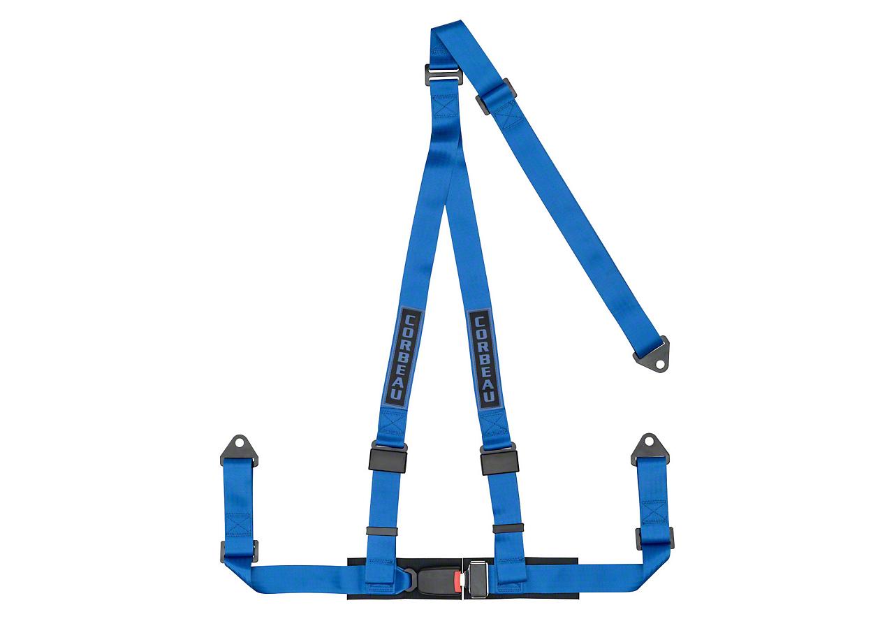 Corbeau 2 in. 3-Point Bolt-In Harness Belt - Blue (87-18 Jeep Wrangler YJ, TJ, JK & JL)