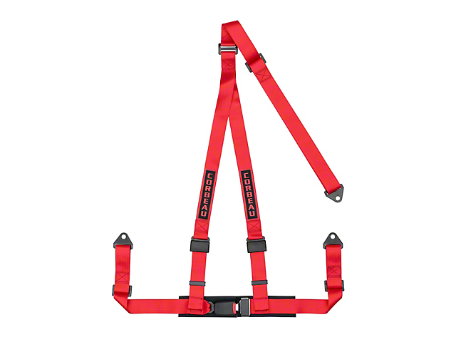 Corbeau 2 in. 3-Point Bolt-In Harness Belt - Red (Universal Fitment)