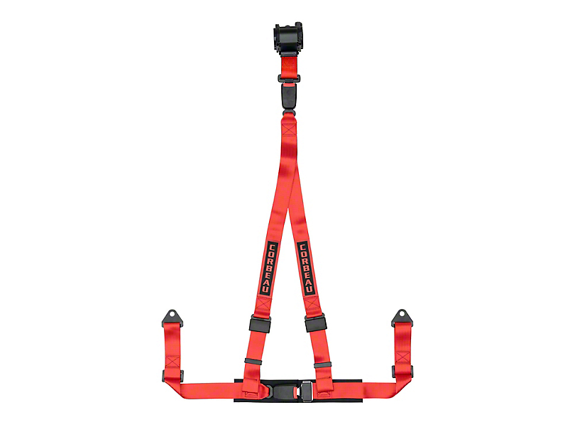 Corbeau 2 in. 3-Point Retractable Harness Belt - Red (Universal Fitment)