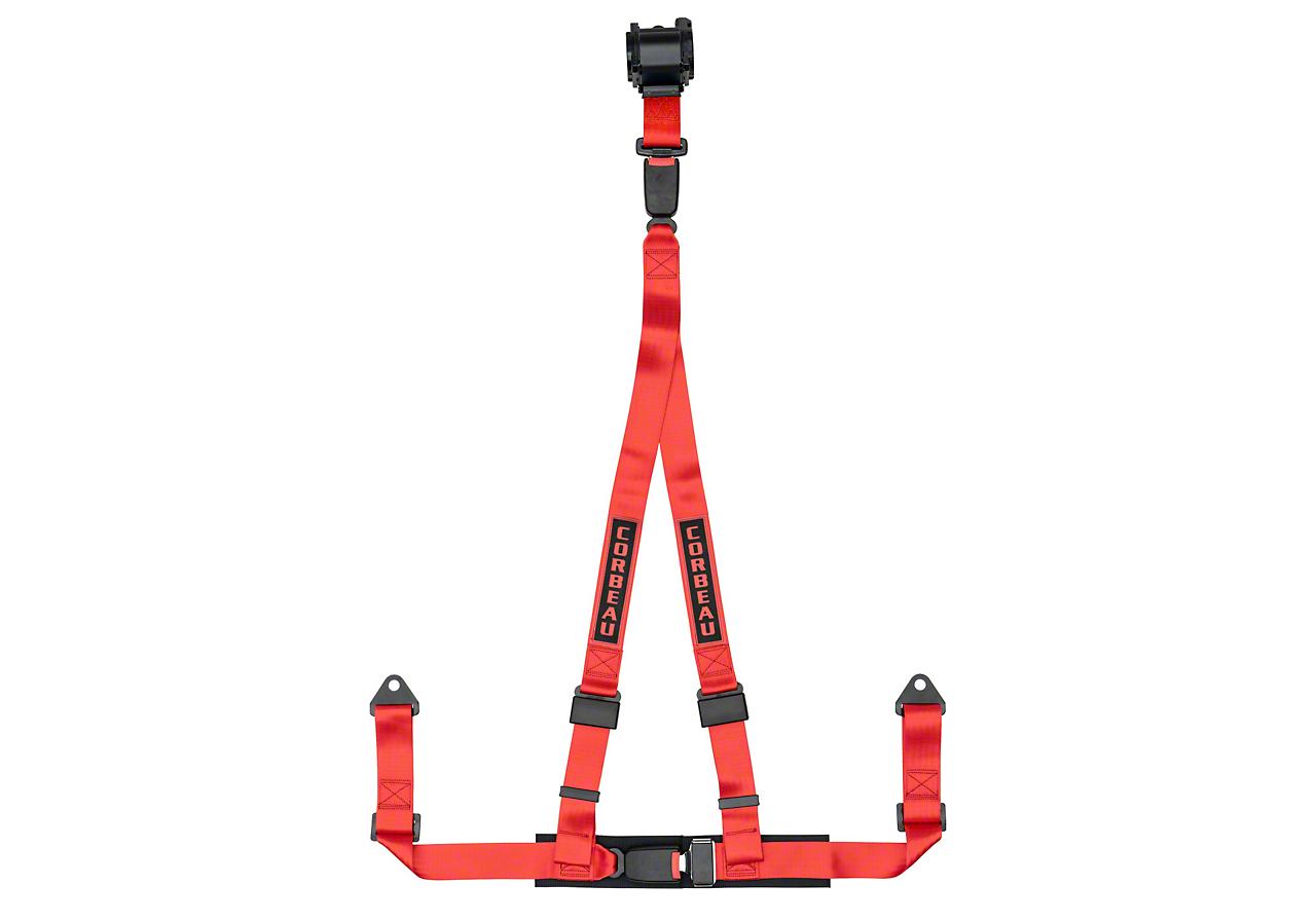 Corbeau 2 in. 3-Point Retractable Harness Belt - Red (87-18 Wrangler YJ, TJ, JK & JL)