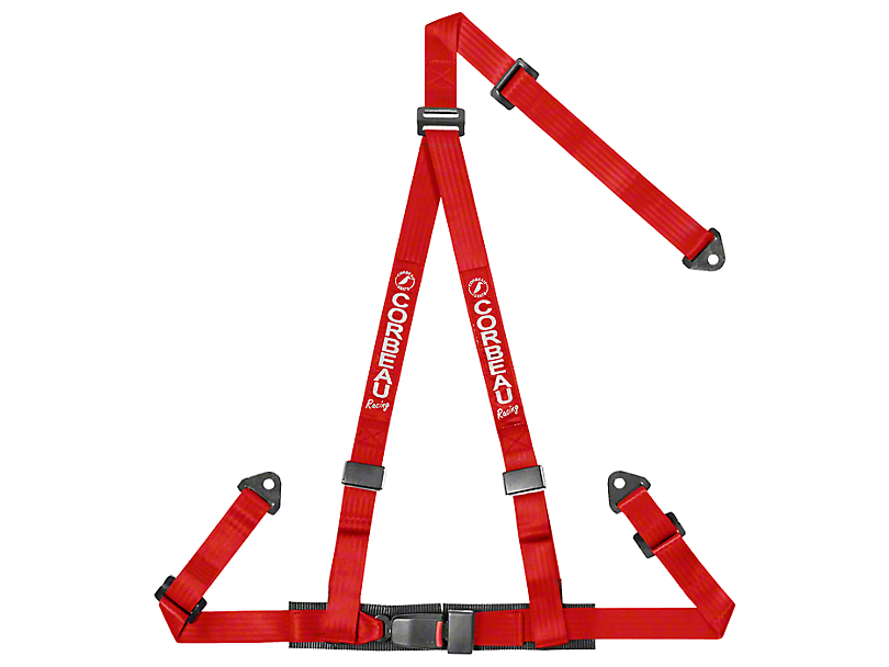 Corbeau 2 in. 3-Point Snap-In Harness Belt - Red (87-18 Jeep Wrangler YJ, TJ, JK & JL)