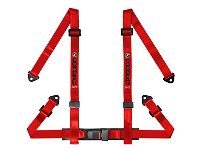 Corbeau 2 in. 4-Point Snap-In Harness Belt - Red (87-18 Wrangler YJ, TJ, JK & JL)
