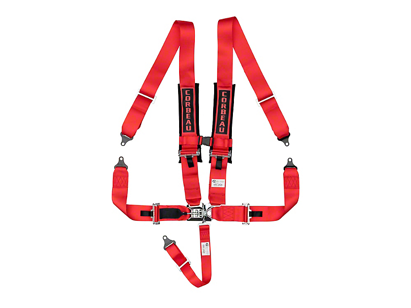 Corbeau 3 in. 5-Point Latch & Link Harness Belt - Red (Universal Fitment)