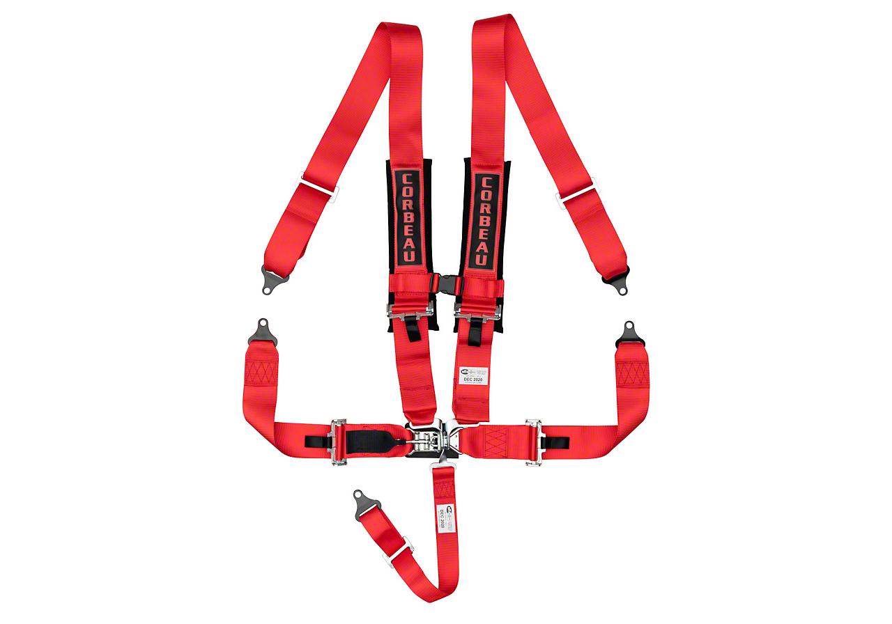Corbeau 3 in. 5-Point Latch & Link Harness Belt - Red (87-18 Wrangler YJ, TJ, JK & JL)