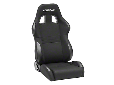 Corbeau A4 Wide Racing Seat - Black Cloth - Pair (87-18 Wrangler YJ, TJ & JK; Seat Brackets are Required for TJ & JK Models)