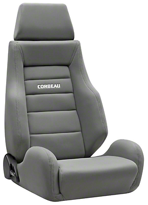 Corbeau GTS II Reclining Seat - Gray Cloth (87-18 Wrangler YJ, TJ & JK; Seat Brackets are Required for TJ & JK Models)