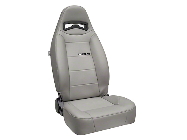 Corbeau Moab Reclining Seats - Gray Vinyl - Pair (87-18 Jeep Wrangler YJ, TJ & JK; Seat Brackets are Required for TJ & JK Models)