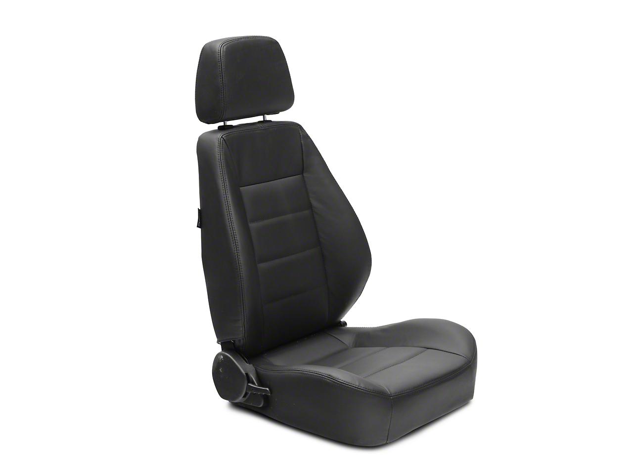 Corbeau Sport Reclining Seat - Black Leather - Pair (87-18 Wrangler YJ, TJ & JK; Seat Brackets are Required for TJ & JK Models)