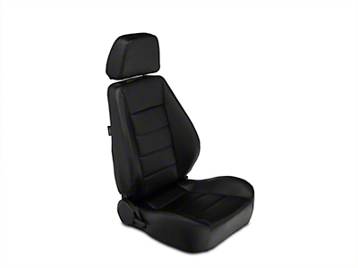 Corbeau Sport Seat Reclining Seat - Black Vinyl - Pair (87-18 Jeep Wrangler YJ, TJ & JK; Seat Brackets are Required for TJ & JK Models)