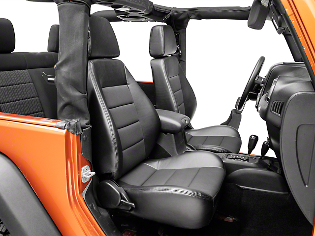 Corbeau Sport Seats Reclining Seats - Black Vinyl/Cloth - Pair (87-18 Jeep Wrangler YJ, TJ & JK; Seat Brackets are Required for TJ & JK Models)