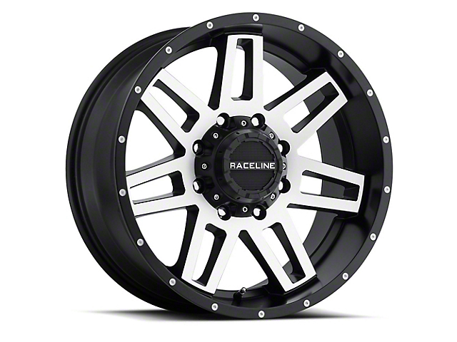 Raceline Injector Black Machined Wheel; 16x8 (07-18 Jeep Wrangler JK)