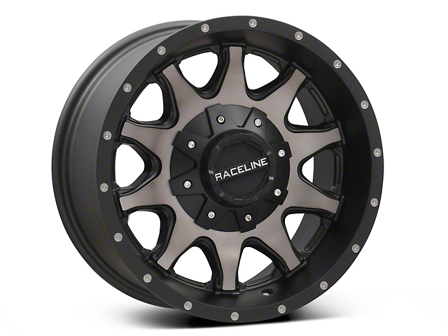 Raceline Shift Black Machined with Dark Tint Wheel; 16x8 (87-95 Jeep Wrangler YJ)