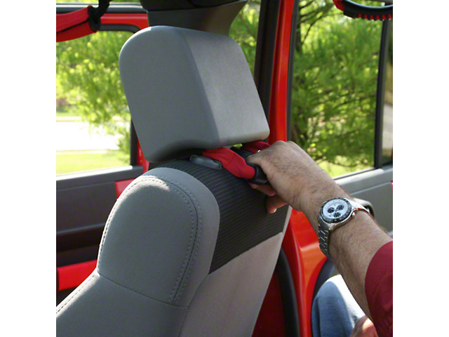 Rugged Ridge Front Headrest Grab Handles - Red (07-19 Jeep Wrangler JK & JL)