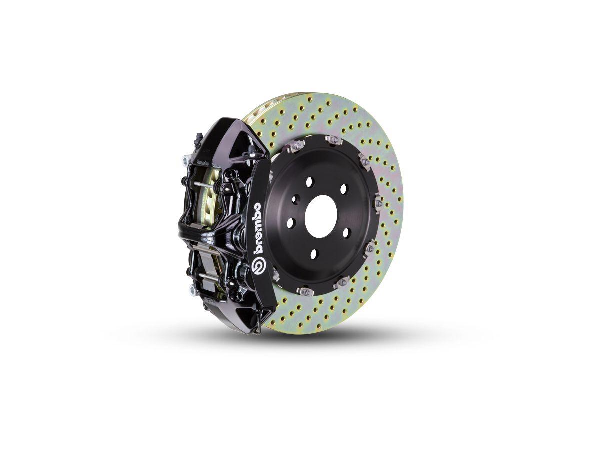 Brembo GT Series 6-Piston Front Big Brake Kit w/ 2-Piece Cross Drilled  Rotors - Black Calipers (07-18 Jeep Wrangler JK)