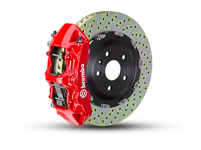 Brembo GT Series 6-Piston Front Big Brake Kit w/ 2-Piece Cross Drilled Rotors - Red Calipers (07-18 Jeep Wrangler JK)