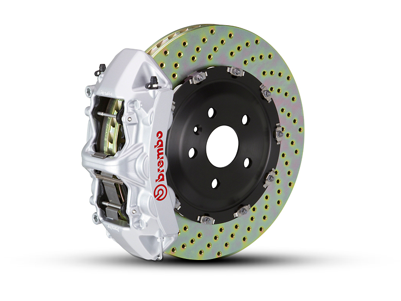 Brembo GT Series 6-Piston Front Big Brake Kit w/ 2-Piece Cross Drilled Rotors; Silver Calipers (07-18 Jeep Wrangler JK)