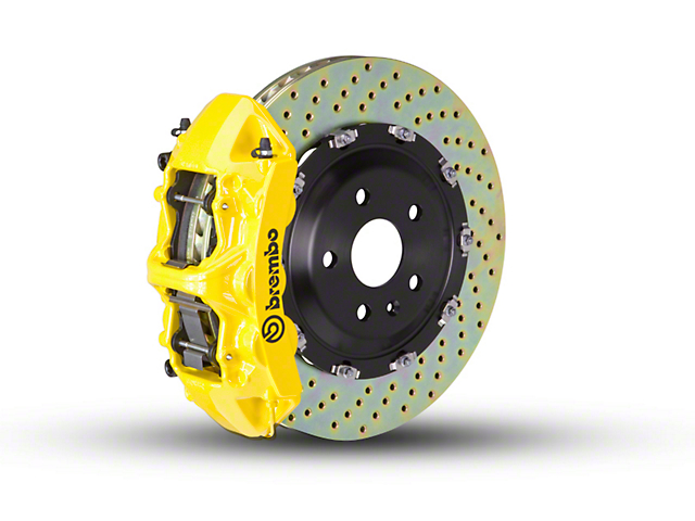 Brembo GT Series 6-Piston Front Big Brake Kit w/ 2-Piece Cross Drilled Rotors; Yellow Calipers (07-18 Jeep Wrangler JK)