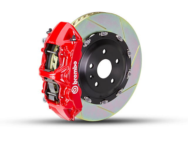 Brembo GT Series 6-Piston Front Big Brake Kit with 2-Piece Slotted Rotors; Red Calipers (07-18 Jeep Wrangler JK)