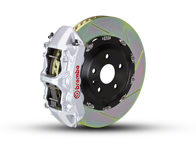 Brembo GT Series 6-Piston Front Big Brake Kit w/ 2-Piece Slotted Rotors; Silver Calipers (07-18 Jeep Wrangler JK)