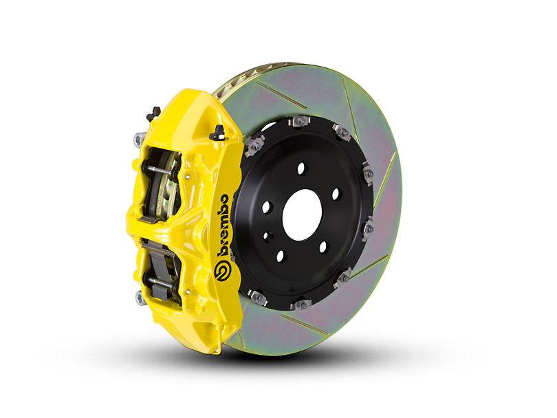 Brembo GT Series 6-Piston Front Big Brake Kit with 2-Piece Slotted Rotors; Yellow Calipers (07-18 Jeep Wrangler JK)