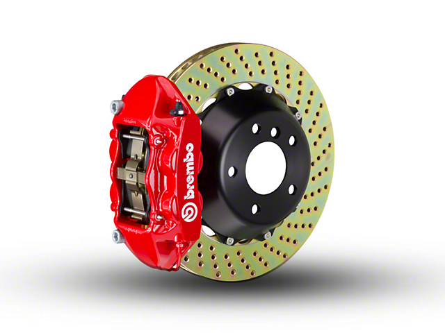 Brembo GT Series 4-Piston Rear Big Brake Kit with 2-Piece Cross Drilled Rotors; Red Calipers (07-18 Jeep Wrangler JK)