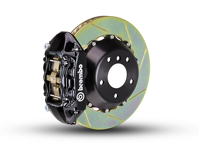 Brembo GT Series 4-Piston Rear Big Brake Kit with 2-Piece Slotted Rotors; Black Calipers (07-18 Jeep Wrangler JK)