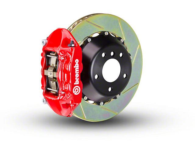 Brembo GT Series 4-Piston Rear Big Brake Kit with 2-Piece Slotted Rotors; Red Calipers (07-18 Jeep Wrangler JK)