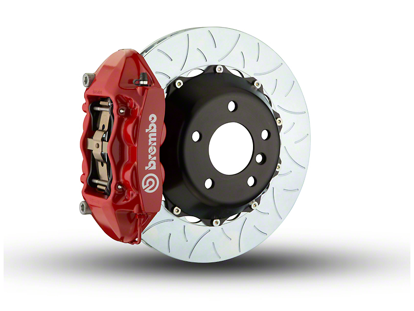 Brembo GT Series 4-Piston Rear Big Brake Kit with Type 3 Slotted Rotors; Red Calipers (07-18 Jeep Wrangler JK)