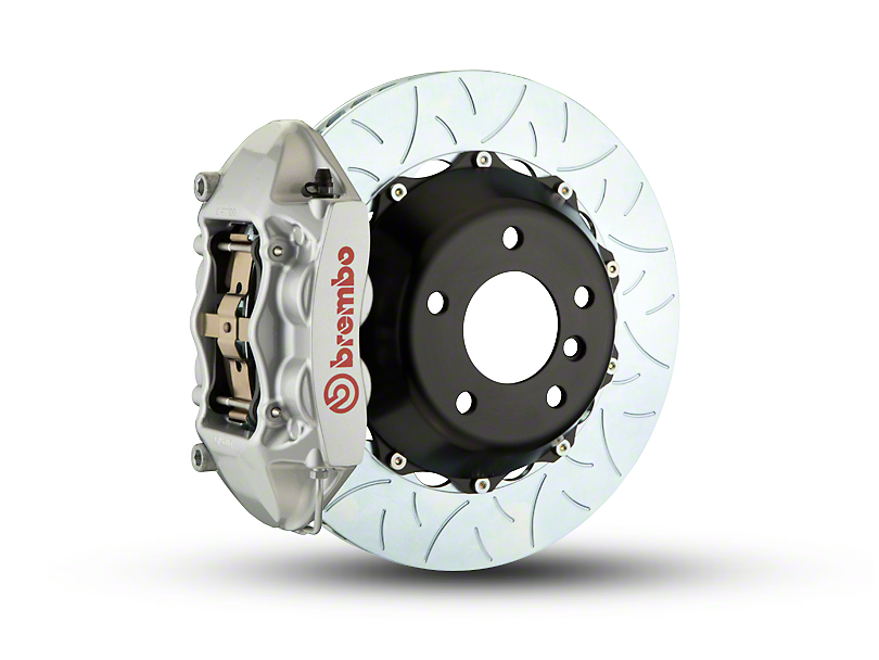 Brembo GT Series 4-Piston Rear Big Brake Kit with Type 3 Slotted Rotors; Silver Calipers (07-18 Jeep Wrangler JK)